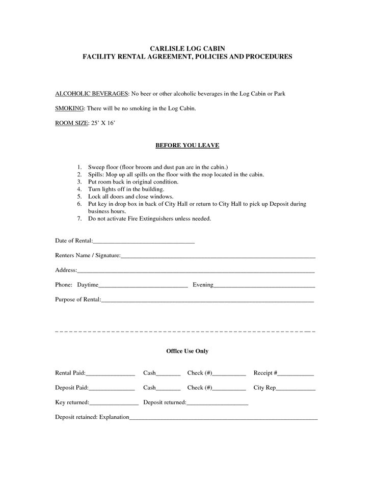 CARLISLE LOG CABIN FACILITY RENTAL AGREEMENT POLICIES AND - rental agreement form