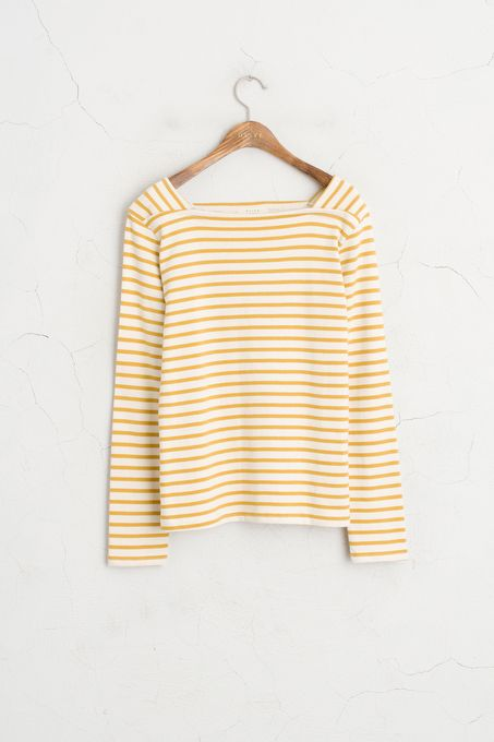 Square Neckline Stripe Tee, Mustard