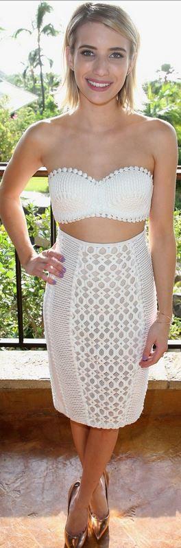 Emma Roberts, white lace skirt