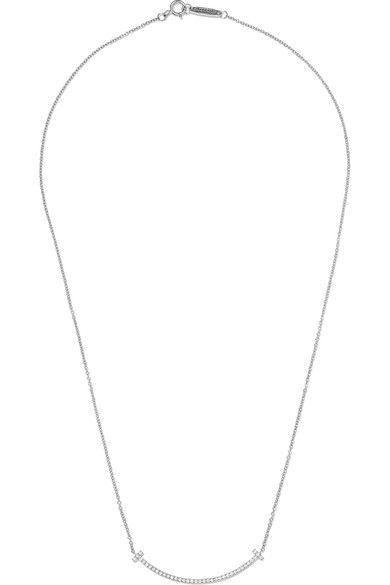 "Tiffany & Co. - T Smile 16"" 18-karat White Gold Diamond Necklace - one size"