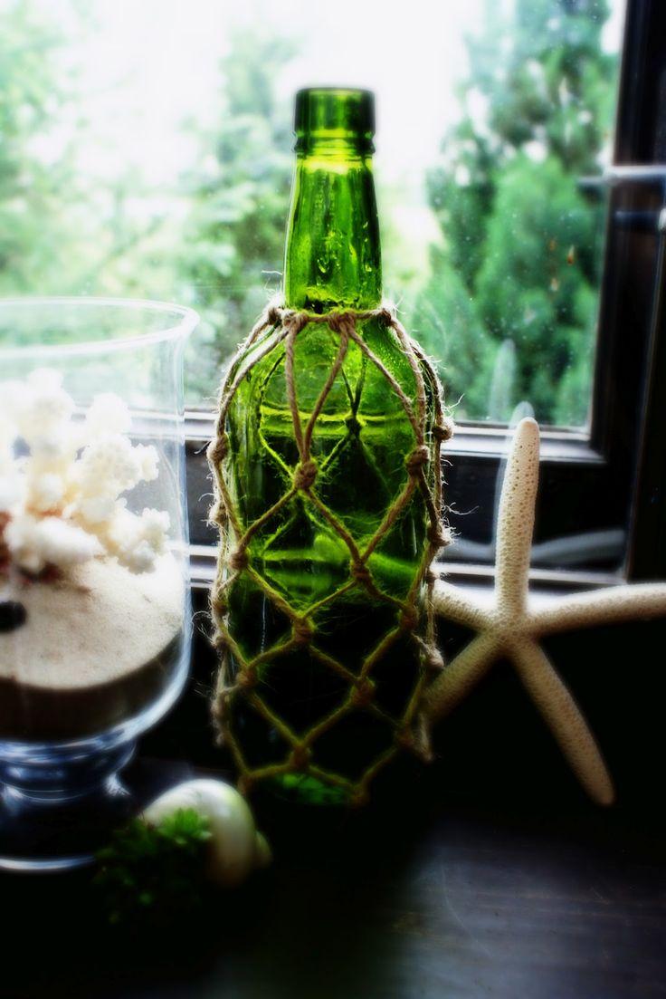 bottle in a net - summer diy idea