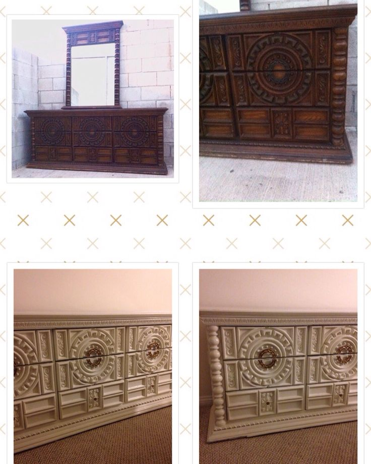 70 39 s spanish revival triple dresser painted in a high for Urban boho style furniture