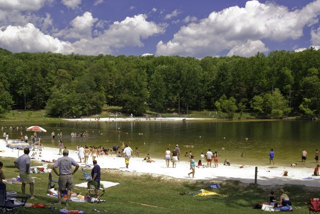 Cunningham Falls State Park, learn about Cunningham Falls, located in Thurmont, Maryland, park features and facilities, see photos of Cunningham Falls Lake and more
