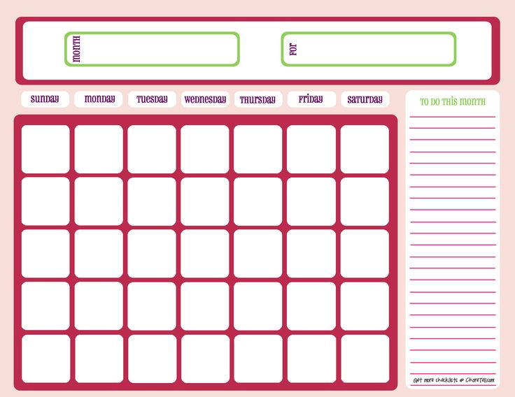 Blank month calendar – pinks | Free printable downloads from ChoreTell