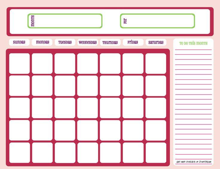 25+ unique Blank monthly calendar template ideas on Pinterest - workout calendar template