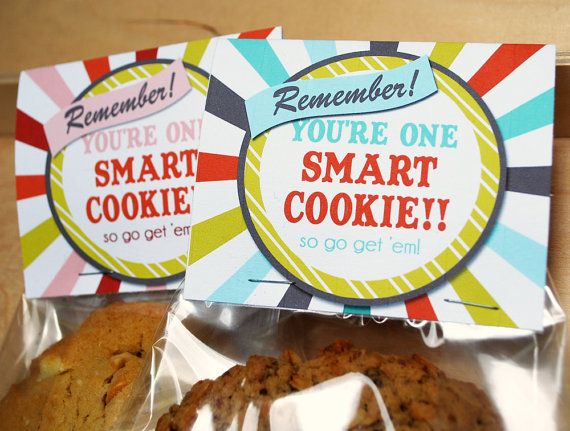 Printable Smart Cookie Topper, Blue, Instant Download Good Luck on Tests Finals, JPEG file