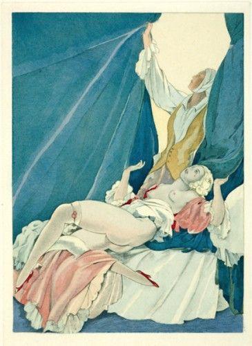 BRUNELLESCHI, U. The Curtain.  An original hand-coloured pochoir for 'La Lecon d'Amour Dans un Parc' by Rene Bolesve. Limited edition of 450. Paris c.1920.
