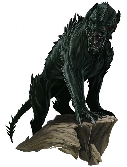 Barghest (Undead)(Medium) – Also known as Black Shuck or Hounds of Ill Omen, these big black dogs are attracted to places where terror holds sway, and they bring misfortune and despair with their mind-affecting howls. Both Ankou and Dullahan's are known to keep a few of these doom hounds around. (English)