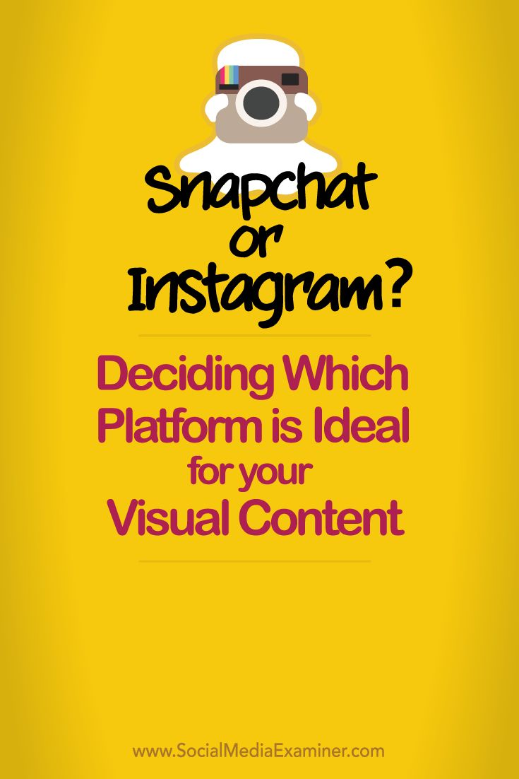 Is visual content part of your social media marketing?  Snapchat and Instagram share the same basic purpose. While many businesses want to know which is better for marketing, the truth is both have value.  In this article you'll find insights to help you decide whether your visual content campaigns should be on Snapchat or Instagram. Via @smexaminer