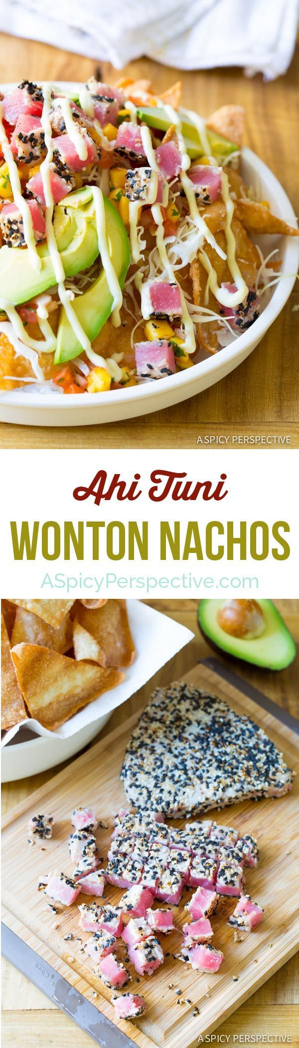 Amazing and Easy to Make Ahi Wonton Nachos with  Mango Salsa and Wasabi Mayo! #nachos via @spicyperspectiv