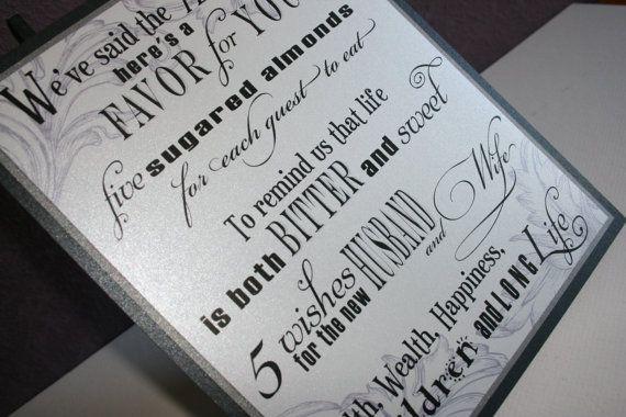 Jordan Almond Wedding Favor Sign  Five Sugared by banelsonart, $14.50