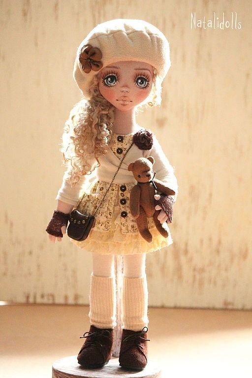 Купить Бонита - бежевый, интерьерная кукла, авторская ручная работа, кукла в подарок, лен, шерсть