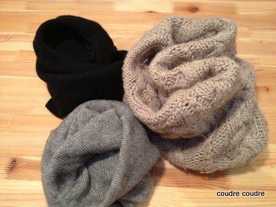 久しぶりにリメイクの紹介です。この季節、資源ごみの日は袋にパンパンに詰められたセーターや冬の衣料品を目にします。服を作っているものとして、とっても胸の痛む光景です。最近では防音材などにリサイクルされてはいますが、もうちょっと身に着けて欲しい