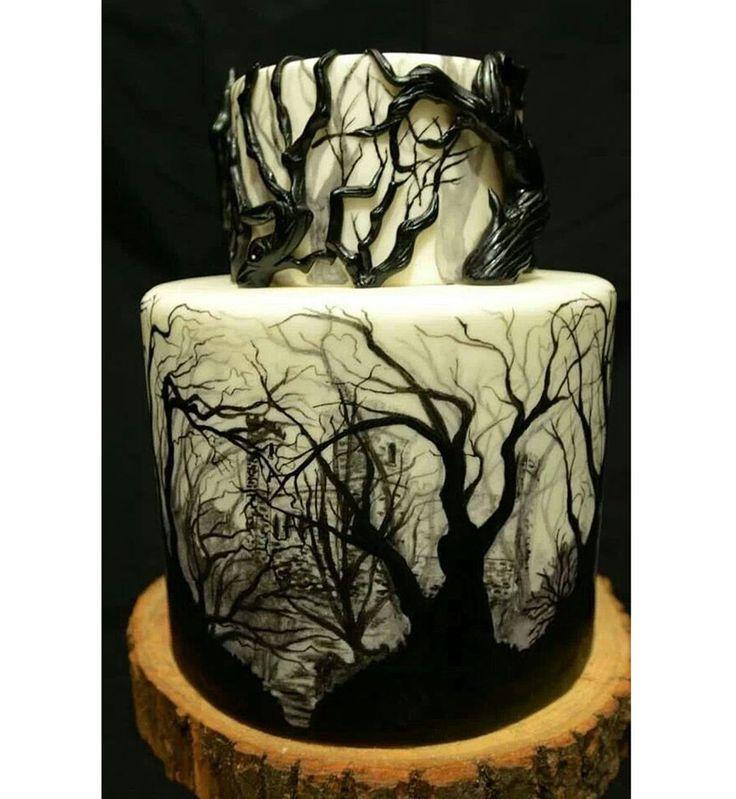 Gâteau d'Halloween : la décoration forêt