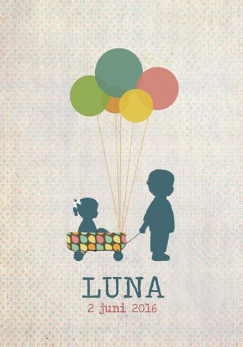 Geboortekaartje Luna - Pimpelpluis - https://www.facebook.com/pages/Pimpelpluis/188675421305550?ref=hl (# meisje - grote broer - karretje - ballon - vintage - retro - silhouet - lief - origineel)