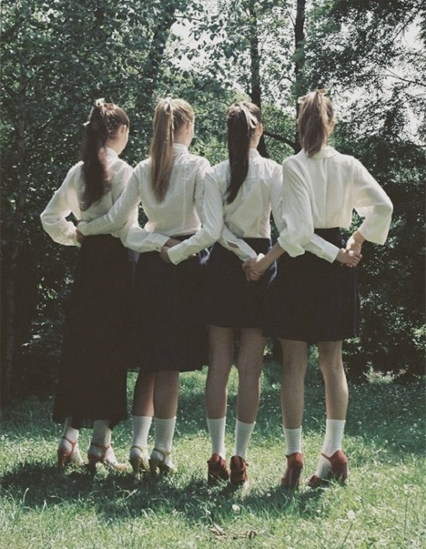 Four our naughty school-girl days.