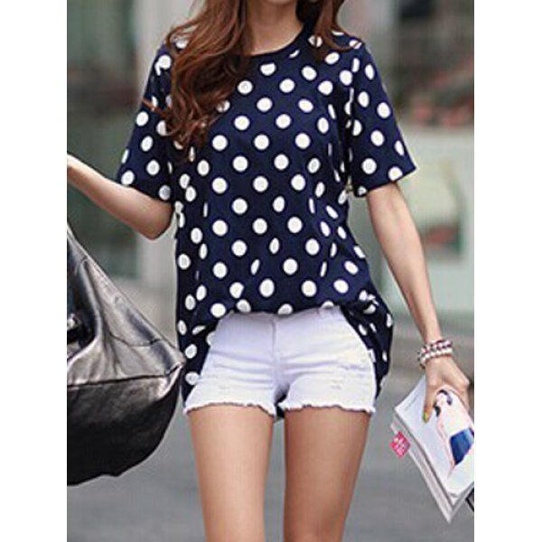 Loose-Fitting Short Sleeve Round Collar Polka Dot Print Cotton T-Shirt, BLUE, ONE SIZE in Tees & T-Shirts | DressLily.com