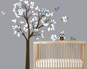 Moderne weiß Kinderzimmer Wand Kunst Baum mit Vögeln Eulen Vinyl Aufkleber Set