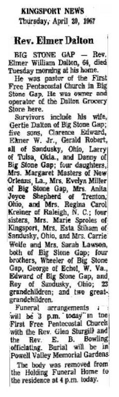 "My 2nd Uncle, Elmer Dalton 1903-1967 Big Stone Gap. Father- James Isom Dalton Mother- Mary Francis ""Mamie"" Lawson"