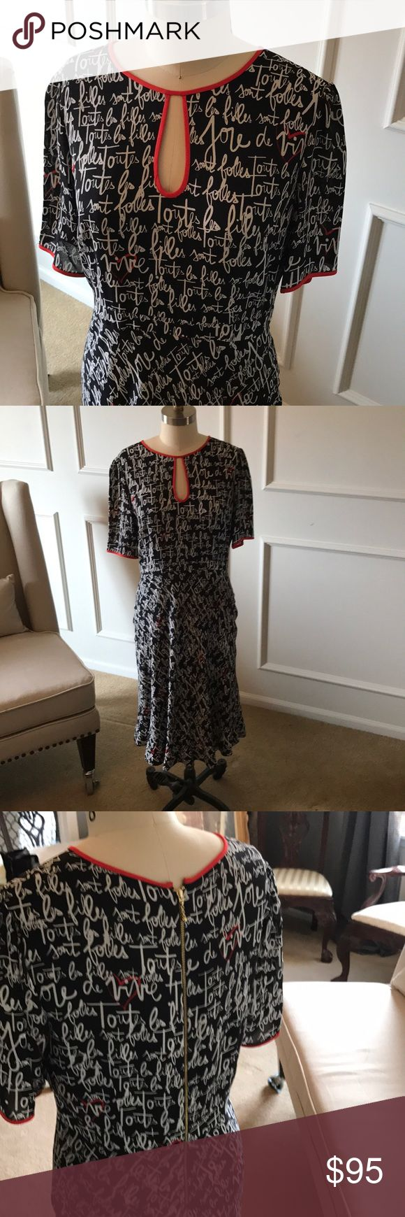 Kate Spade Tulip Skirt Dress Black and White Print, Short Sleeve, Length Falls below the knee, Key Hole Front and Hold Zipper Down the Back, Crepe Material Super Sweet! Size 12 kate spade Dresses