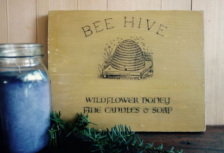 Bee Hive Wildflower Honey Fine Candles and Soap Farmhouse Sign, Vintage Bee Hive Country Sign - pinned by pin4etsy.com