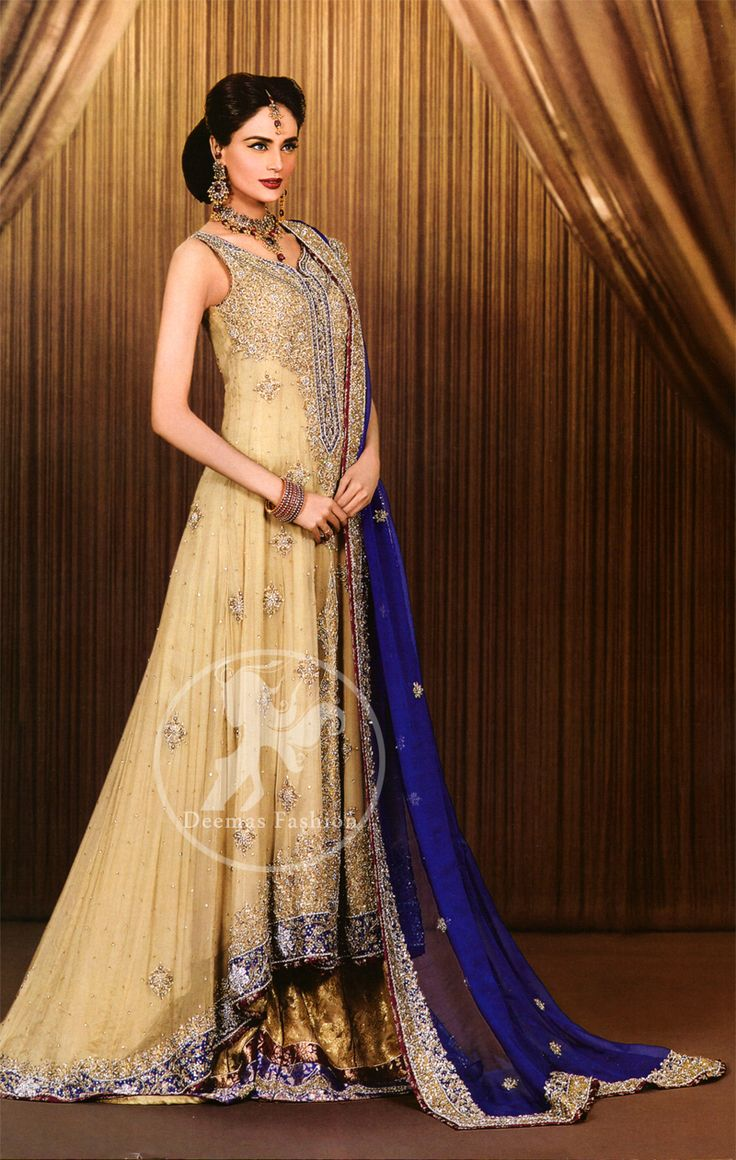 Light Gold Royal Blue Back Trail Wedding Frock and Embroidered Lehnga