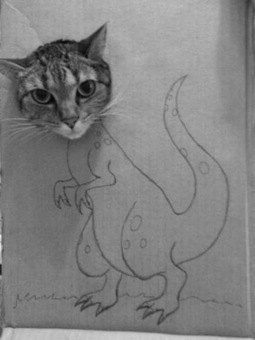 Schrödinger's other cat experiment: it is both a cat and a dinosaur AT THE SAME TIME.