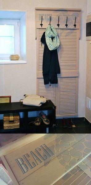 DIY coatrack, shutter coat rack,coastal coat rack, SVARTSJÖN Hook, painted turtle, beach sign вешалка своими руками из ставни