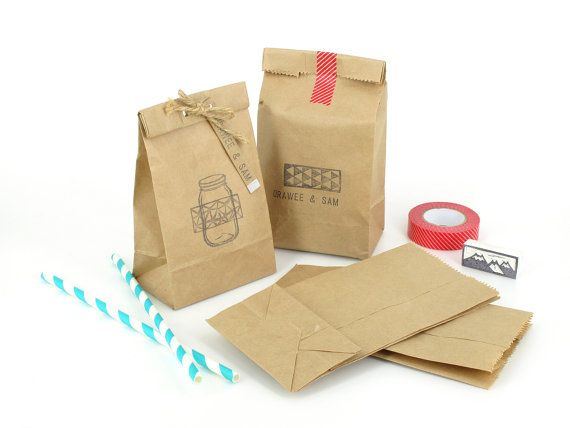 "50 Small Brown Paper Bags - Standing bags with flat bottoms - Made of recycled brown Kraft paper - size 3 1/2"" x 2"" x 7"" approx"