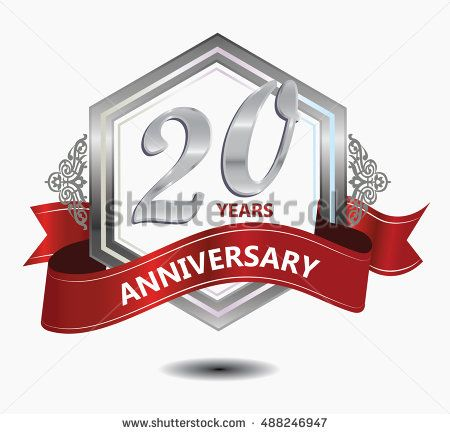 20 years anniversary hexagonal style logo with silver combination red ribbon. anniversary logo for celebration, birthday, wedding, party. anniversary logo 20th