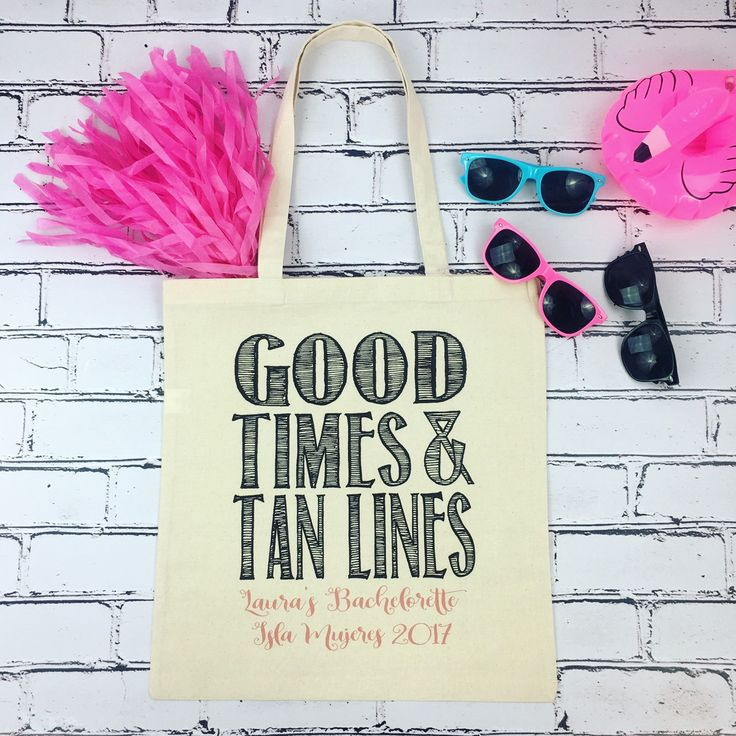 Who's planning a fab beach bachelorette?!Our adorable GOOD TIMES & TAN LINES tote bags are the oh so perfect favor for your girls!! This bachelorette bash is headed all the way to Isla Mujeres. ✈️