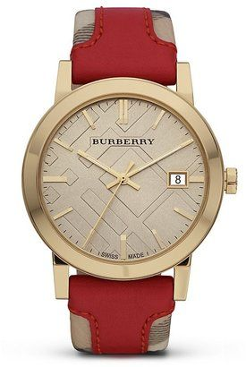 ShopStyle: Burberry Haymarket Check and Red Leather Strap Watch, 38mm