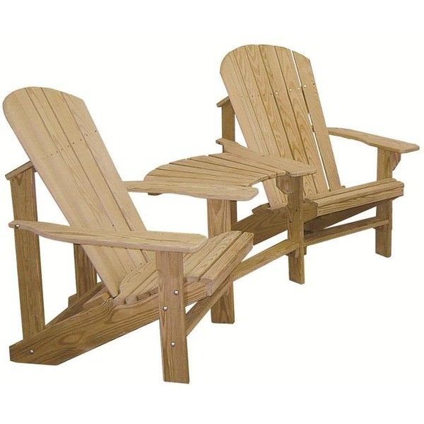 Amish Pine Double Adirondack Settee with Optional Ottomans (595 CAD) ❤ liked on Polyvore featuring home, furniture, pine wood furniture, pine furniture, outside furniture, unfinished pine furniture and unfinished furniture