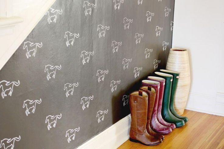 Add personality to your home with DIY stenciled wall paper.