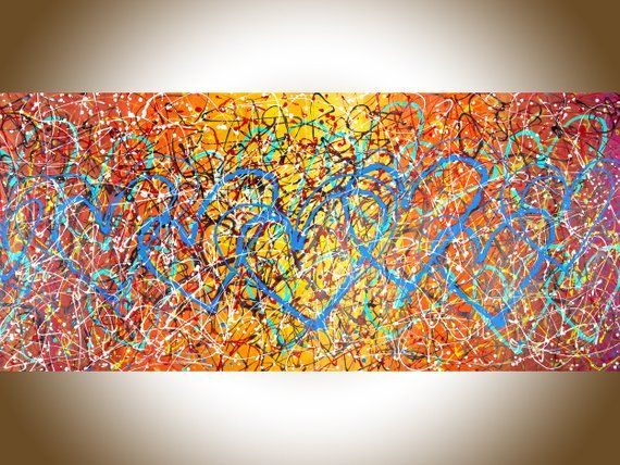 Love Painting 72 Jackson Pollock Inspired Drip Art Etsy Canvas Art Gifts Drip Art Large Canvas Wall Art