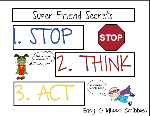 Use super hero theme to teach students how to be a super friend! Book to accompany.