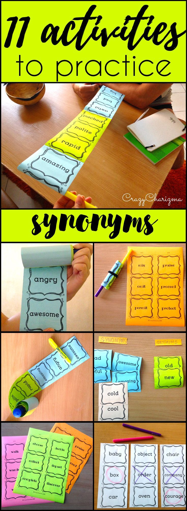 Find inside engaging and interactive synonyms activities -  11 variants how to use cards with 360 words!!! Your kids will definitely love synonyms after these fun activities! (L.4.5C, L.5.5C) $ | CrazyCharizma at https://www.teacherspayteachers.com/Store/Crazycharizma