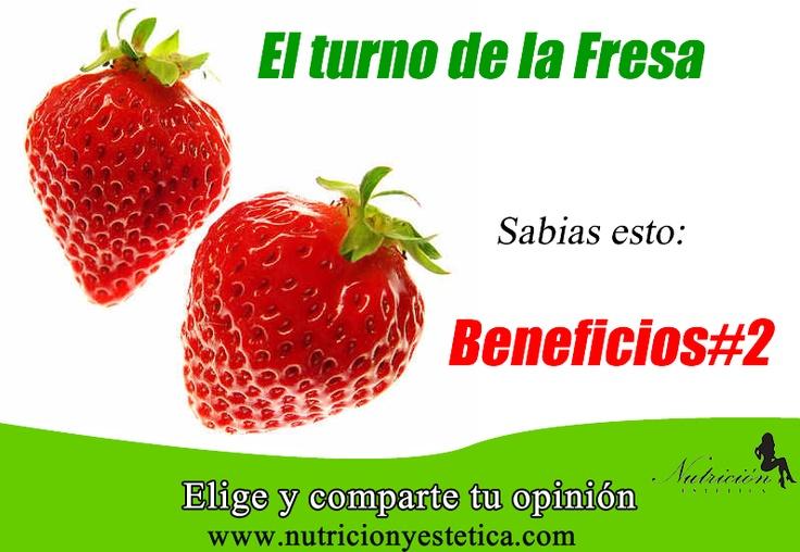 FRESA. conoce sus beneficios. #2. Aquí:      http://nutricionylaestetica.blogspot.com/2012/10/nutricionistalima_8.html    Las nutricionistas de Lima de Nutricion Estetica estan redactando estos articulos sobre las fresas para que puedan conocer los beneficios de esta fruta