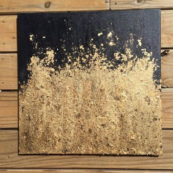 Contemporary Gold Leaf Painting   Original Abstract Modern Decorative  Textured Black And Gold Wall Art Decor