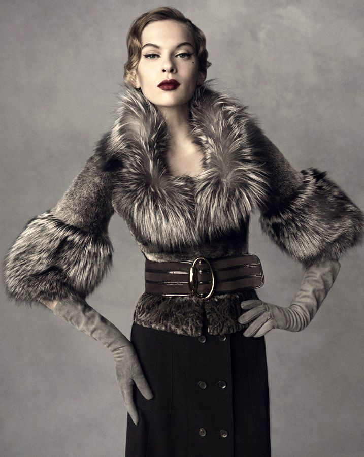Glove Fashion: Elize Crombez in Gucci Leather Gloves. Neiman Marcus, Fall/Winter 2007.