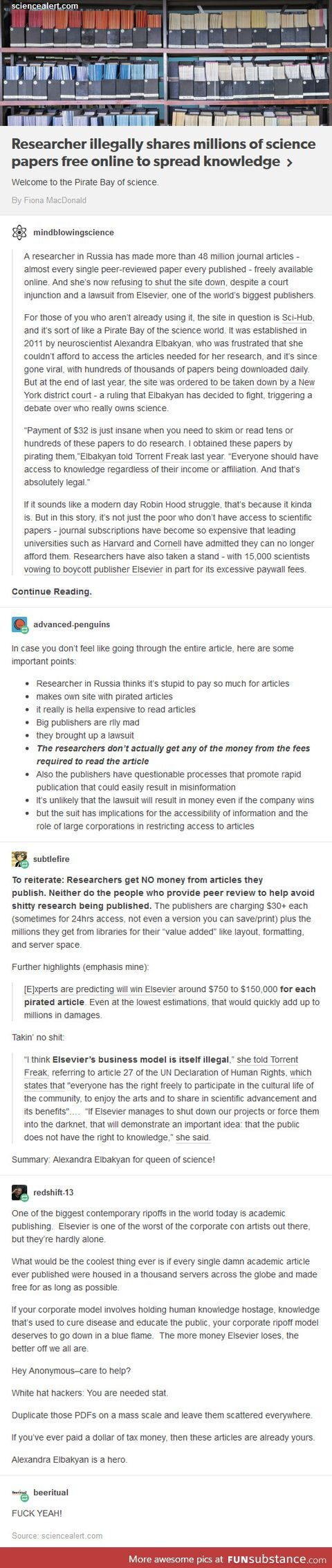 This should be freely accessible information! How else are we supposed to advance properly? Scientific discoveries and advances are more important than big companies pay checks