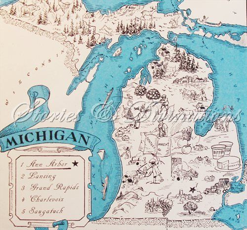 Michigan Map - Retro Michigan Map - Vintage State Picture Map - Map Art - Ann Arbor - East Lansing - A Fun and Funky Vintage Picture Map. $21.00, via Etsy.