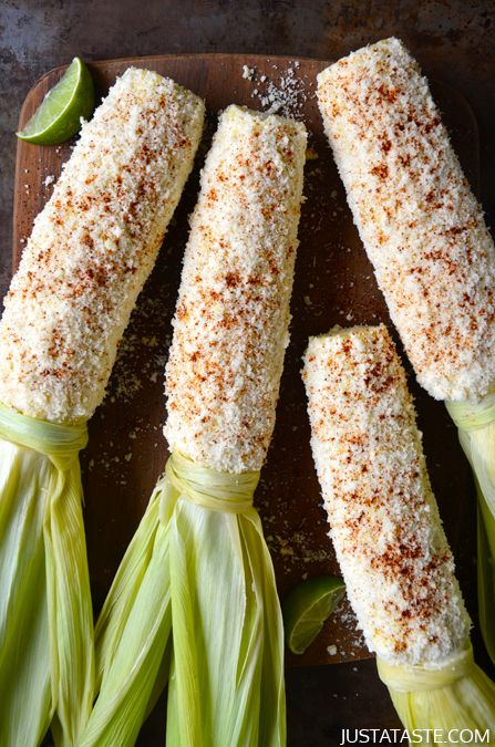 Cheesy Roasted Garlic Corn on the Cob #recipe #corn