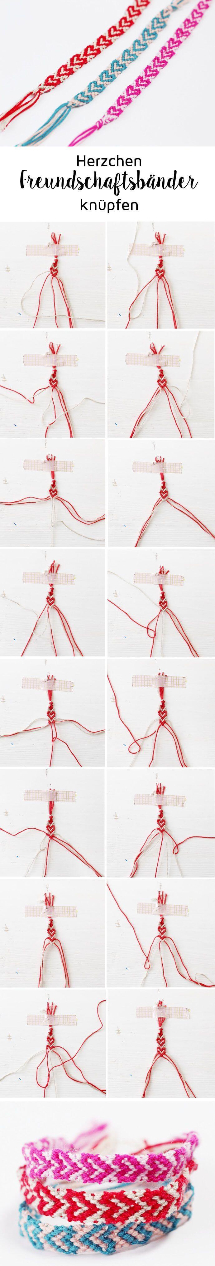 freundschaftsbnder knpfen mit herzen einfache diy anleitung - Fantastisch Schussel Aus Knpfen