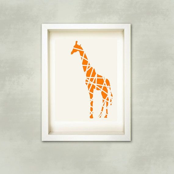 Orange Giraffe in Stripes Print, nusery art,modern giraffe, kids room,Nursery wall decor,animal illustration