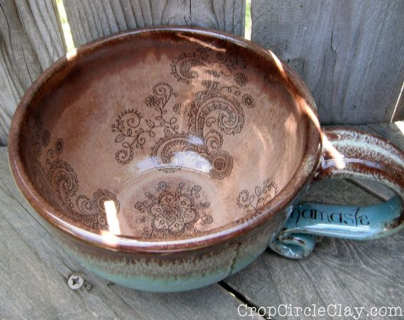 NAMASTE Oversized Coffee Mug Henna Tattoo Large Teacup Coffeehouse Latte mug Yoga Lovers Blue Brown Rustic Earthy wheel thrown pottery mug