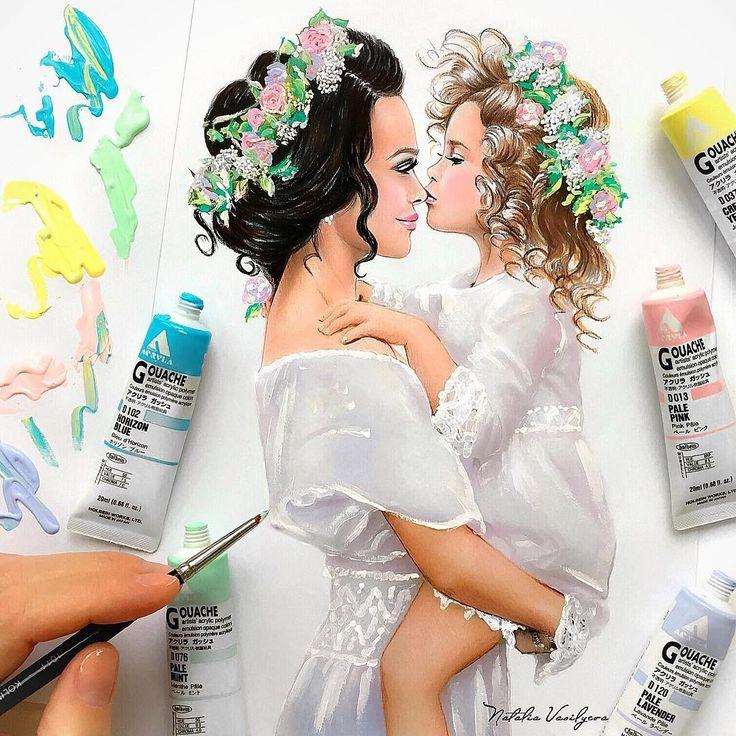 Я люблю тебя мама❤️I love you mom❤️моя новая иллюстрацияи я очень рада, что такая красота будет украшать букеты @sembuketov ❤️