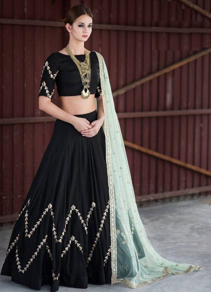 Black Embroidered Banglori Silk Unstitched Lehenga Choli
