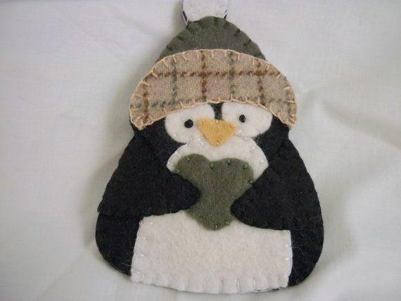 Penguin Felt Ornament Decoration Primitive by pennysbykristie