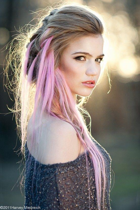 pink hair streaks ideas